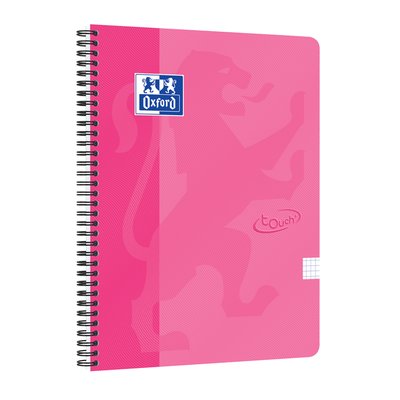 Spiraalblok Oxford Touch A4 ruit 5mm 70vel roze