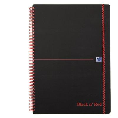 Notitieboek Oxford Black n' Red A4 PP 70vel lijn zwart